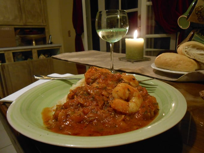 Cappellini and shrimp