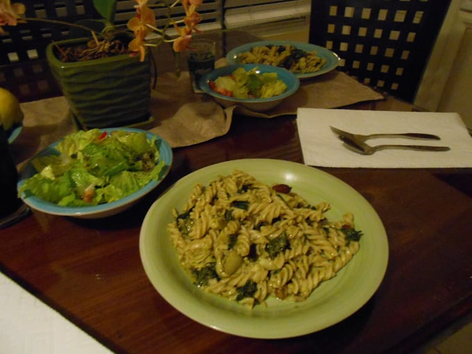 Fusili with kale and kalamata olives
