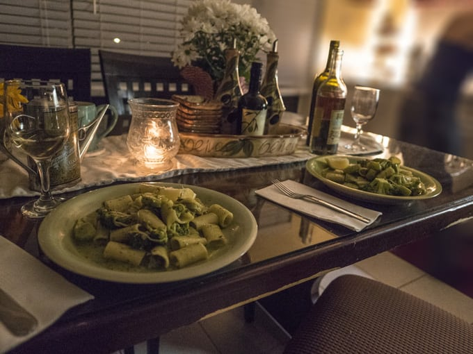 Homemade pesto rigatoni and broccoli