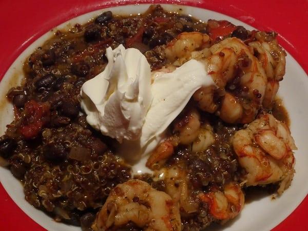 Spicy shrimp and black quinoa bowl