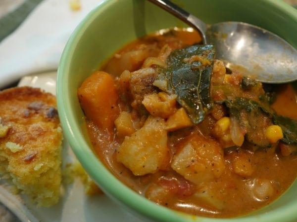 Sweet Tomato Potato Soup with Kale