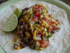 Pinto Beans, Chicken, Fresh Mango Salsa Burritos