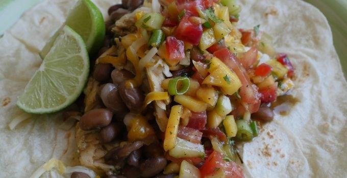 Pinto Beans, Chicken, Fresh Mango Salsa Burritos