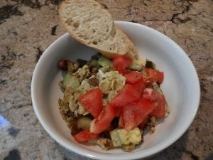 Quinoa Breakfast Bowl:  Eggs, Potatoes, Zucchini & Olives