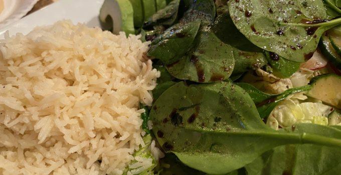 Spinach Salad with Avocado & Jasmine Rice